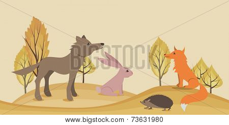 Seamless horizontal  landscape with wild forest animals