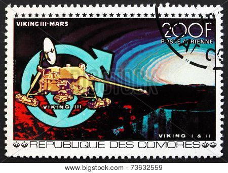 Postage Stamp Comoros 1977 Viking Iii, Mars