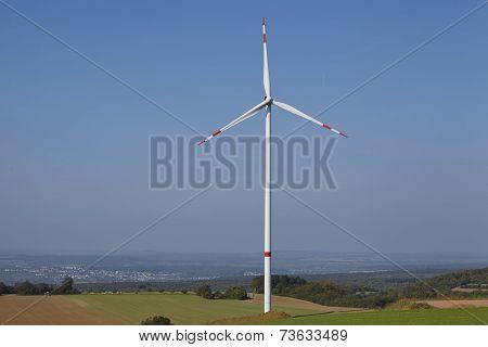 Wind Turbine Into An Open Landscape