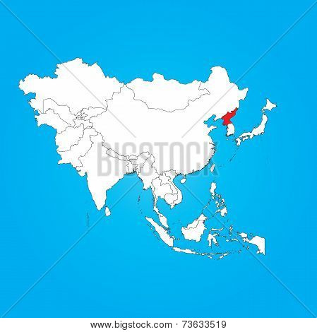 Map Of Asia With A Selected Country Of North Korea