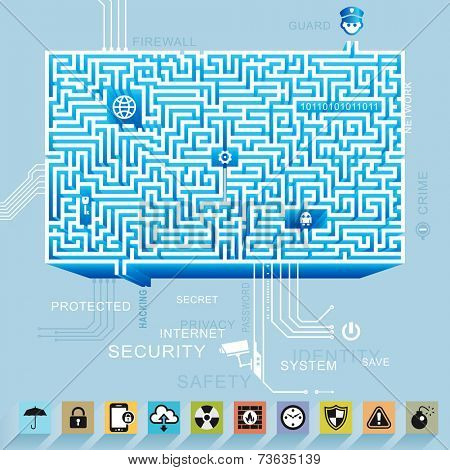 Internet network security and protection icon maze background.