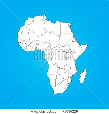 Map Of Africa With A Selected Country Of Gambia