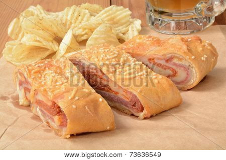 Italian Bread Roll With Chips And Beer