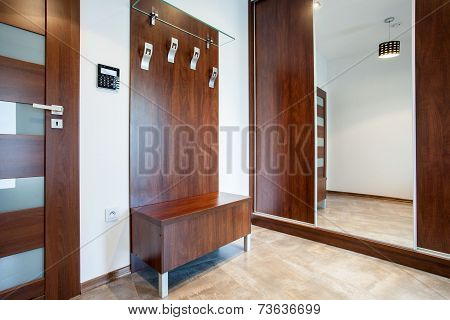 Wooden Anteroom In Modern Apartment
