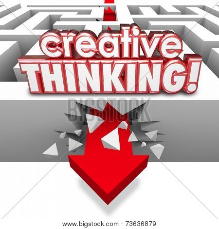 Creative Thinking 3d red words on a maze with arrow crashing through maze to illustrate solving a problem with imagination, innovation and creative thought
