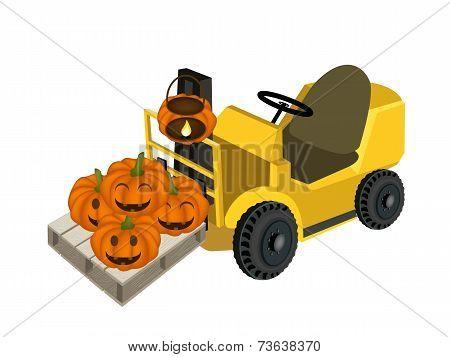 A Forklift Truck Loading A Pile of Jack-o-Lantern Pumpkins