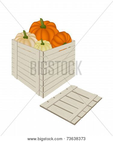 A Pile of Pumpkins in Wooden Cargo Box