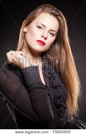 portrait of an young girl with beautiful hair and makeup