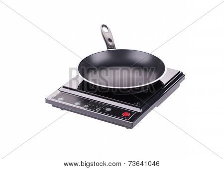 Modern electric stove surface.