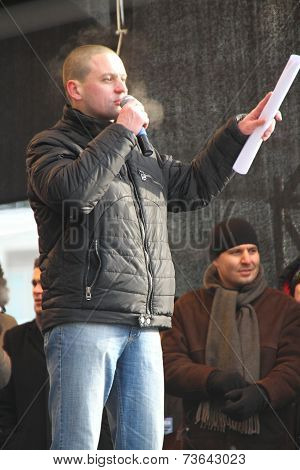 Politician Sergei Udaltsov on the stage of opposition rally