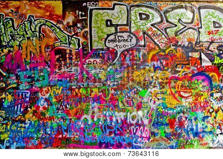 John Lennon Graffiti Wall On Kampa Island In Prague