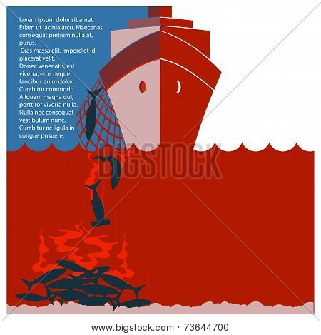 Stop Shark Finning And Safe Nature.vector Flyer For Text