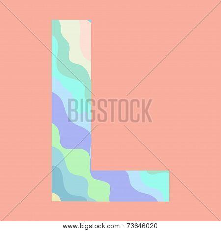 The letter L. Element of alphabet