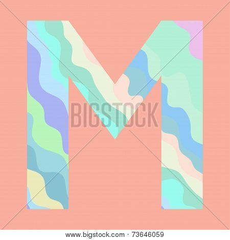 The letter M. Element of alphabet