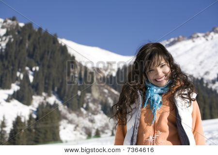Woman At The Winter Mountains