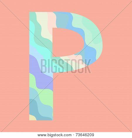 The letter P. Element of alphabet