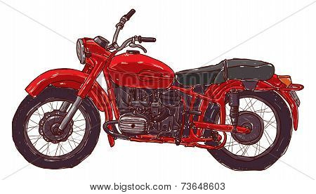 Doodle sketch red vintage motorcycle on a white background.