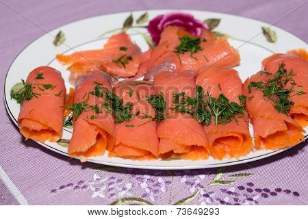 Close up of smoked salmon with dill