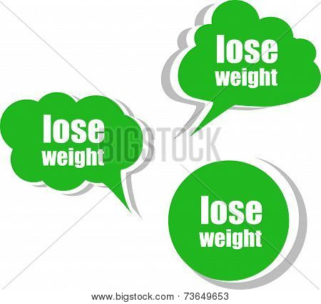 Lose Weight Word On Modern Banner Design Template. Set Of Stickers, Labels, Tags, Clouds