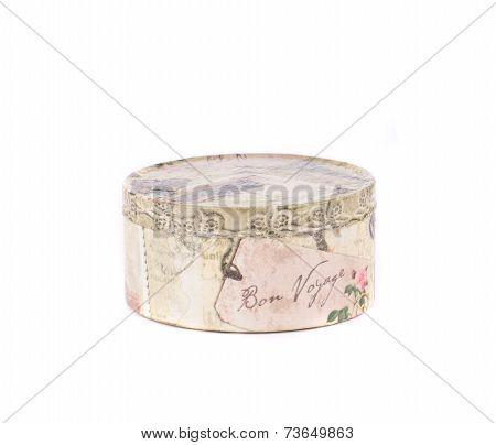 Handmade round gift box.