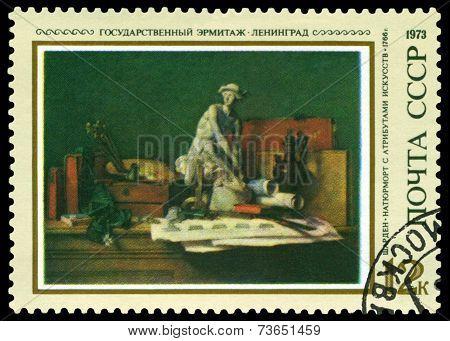 Vintage  Postage Stamp. Still Life With Skulpture, By Jean-baptiste Chardin.