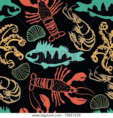 Sea Food Colorful Seamless Dark Pattern
