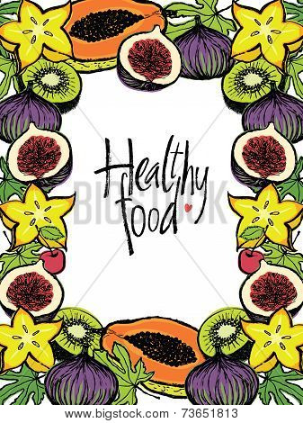Healthy Food Design Frame With Fresh Fruits