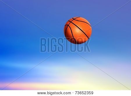 Basketball Under Blue Sky