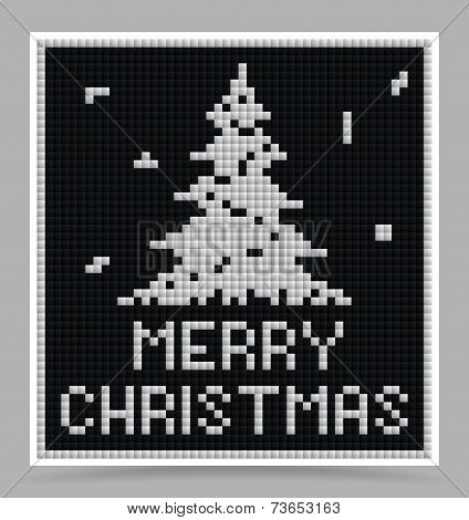 Vector White Christmas Game Block Style Card
