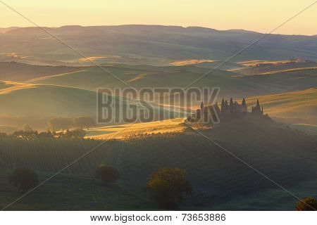 Sunrise over the rural house with vineyards in San Quirico d'Orcia