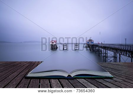 Long Exposure Landscape Of Victorian Pier With Moody Sky