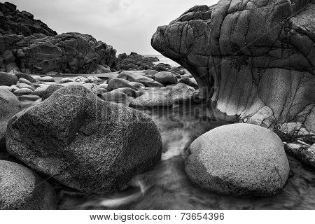 Beautiful Landscape Of Porth Nanven Beach Cornwall England  Black And White
