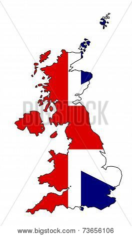 Uk Map And Flag