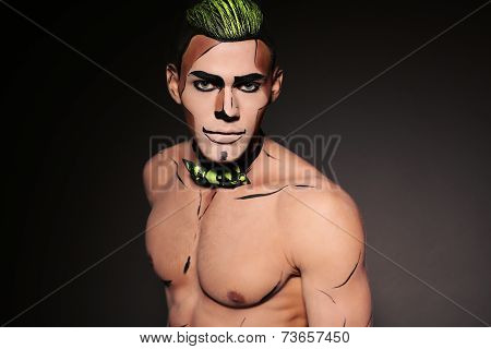 Muscular Man With Make Up For Halloween Party