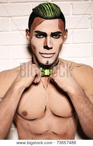 Sexy Muscular Man With Halloween Make Up