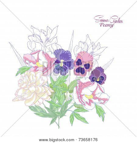 Background with peonies,  irises and pansies-02