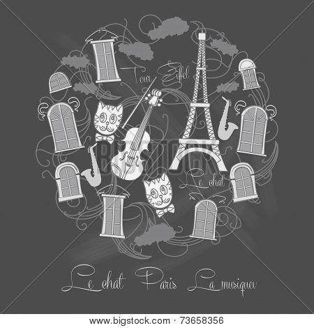 Background Tour Eiffel on chalkrboard
