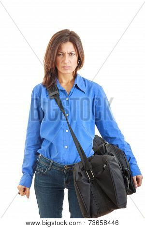 Angry Woman With Suitcase Hate Going On Business Travel