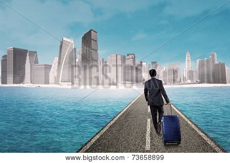 Businessman Walk Toward Modern City