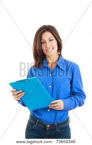 Smiling Pensive College Girl Or Woman With  Textbook