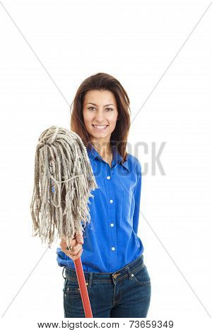 Smiling Young Woman In Jeans And Blue Shirt  Holding A Mop Broom