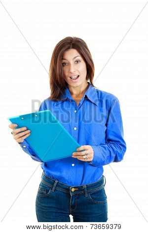 Surprised Pensive College Girl Or Woman Holding Textbook