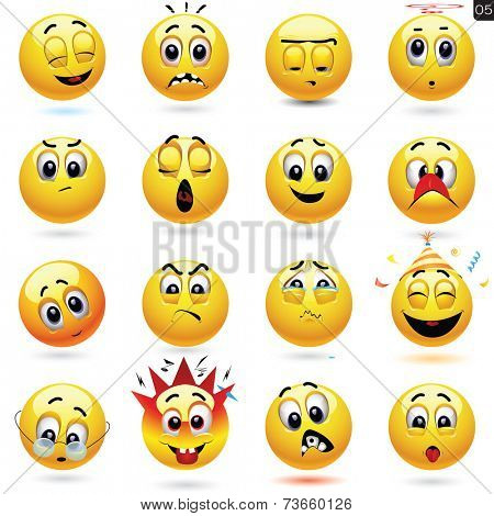 Vector set of smiling ball icons with different face expression
