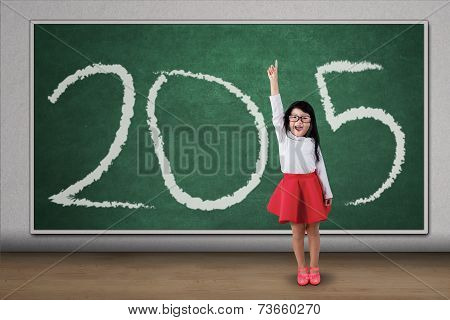 Girl Standing In Class Forming Number 2015