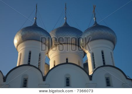 Cupola Of Sophia Cathedral In Vologda Kremlin At Sunset, Russia