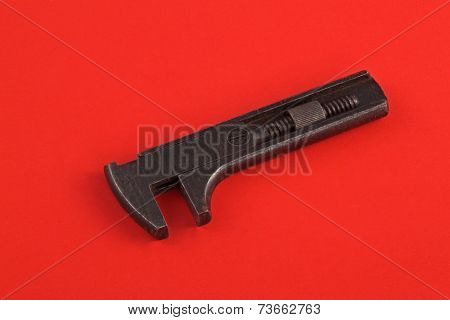 Old Adjustable Wrench Or Spanner.