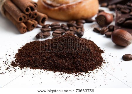 Handful Of Ground Coffee Close Up