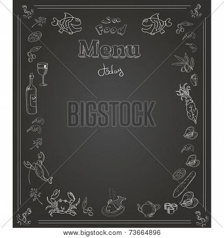 Hand drawn seafood  Menu design on blackboard
