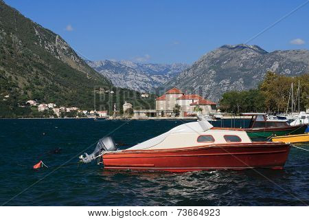 Little Red Boat In The Bay Of Kotor, Montenegro