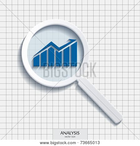 Vector magnifying glass with analysis icon.